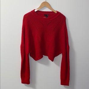 Aqua red knit sweater